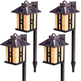 GIGALUMI Solar Powered Path Lights, Solar Garden Lights Outdoor, Landscape Lighting for Lawn/Patio/Yard/Pathway/Walkway/Driveway (4 Pack) (Color: 4 PACK)