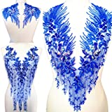 Lace Embroidered Pearl Rhinestone Patches Applique for DIY Fabric Trim Neckline Wedding Bridal Prom Dress Back Decoration (Navy Blue, One Set) (Color: Blue, Tamaño: One Set)