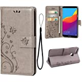 Wallet Case for Huawei Honor 7C/Huawei Y7 2018/Y7 Prime 2018, 3 Card Holder Embossed Butterfly Flower PU Leather Magnetic Flip Cover for Huawei Honor 7C/Huawei Y7 2018/Y7 Prime 2018(Grey) (Color: A1-Gray)