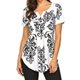 Miskely Women's Paisley Printed Short Sleeve Blouses V Neck Pleated Ruffle Casual Tunic Tops Shirt (L, Black) (Color: Black, Tamaño: Large)