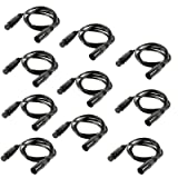 mountain ark 10 Pack 3-Pin Signal XLR Connection DMX Stage Light Cable Wire 6.5ft/2m for Moving Head Light Par Light (Color: Black, 10 Pack)