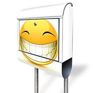 Design Standbriefkasten aus Edelstahl mit Motiv Smile   Bewertungen