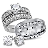 Bellux Style His and Hers CZ Bridal Matching Titanium Stainless Steel Wedding Rings Set + FREE STERLING SILVER EARRINGS (Women's Size 07 & Men's Size 09)