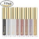 Sunsent Glitter Liquid Eyeshadow Sets, 8 Colors Long Lasting Sparkle Metals Glitter Eyeliner Diamond Eye Shadow (Color: 8pcs)