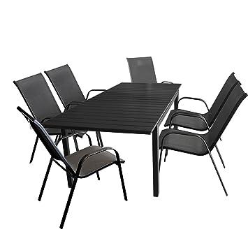 7tlg. Gartengarnitur Sitzgarnitur - schwarzer Ausziehtisch mit Polywood Tischplatte Gartentisch 160/210x95cm + 6x Stapelstuhl mit komfortabler Textilenbespannung - Sitzgarnitur Sitzgruppe Gartenmöbel Terrassenmöbel Set