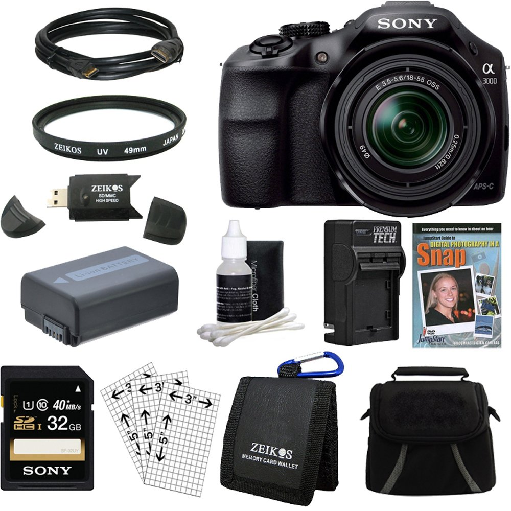Sony a3000 alpha a3000 ILCE-3000K/B, ILCE3000, Interchangeable Lens Digital 20.1MP Camera Bundle with 32GB High Speed Card, Spare Battery, Rapid Charger, SLR Guide DVD, UV filter, Padded Case, Mini HDMI Cable + More