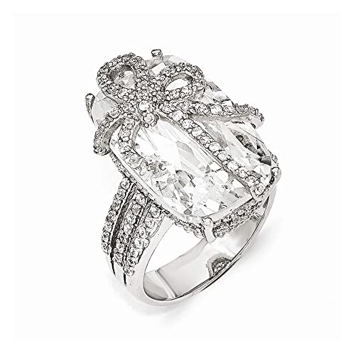 Cheryl M Sterling Silver CZ Bow Ring