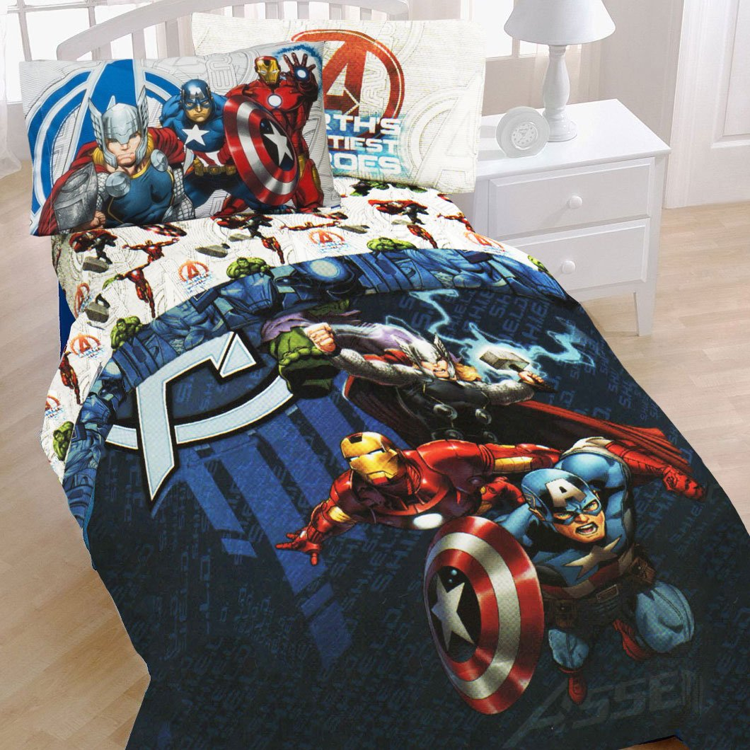 4pc Marvel Comics Avengers Twin Bedding Set & Avengers Bedroom Decor Archives - Groovy Kids Gear