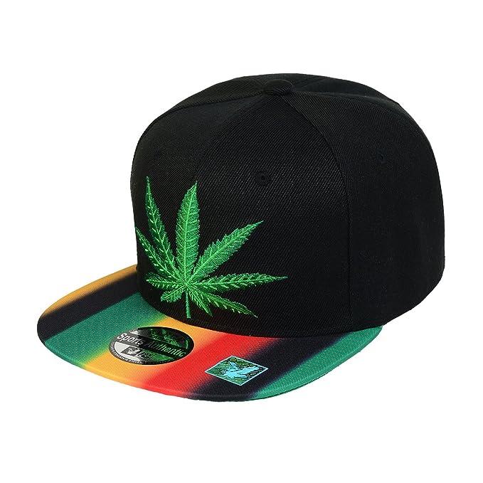 Marijuana Weed Leaf Logo Snapback Hat