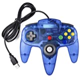Classic USB Controller for N64 Gaming, miadore USB Retro N64 Gamepad Joystick Joypad for Windows PC MAC Linux Raspberry Pi 3 (Clear Blue) (Color: Clear Blue)