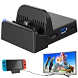 Ponkor Nintendo Switch Dock, Mini Portable Switch Docking Station HDMI TV Adapter Switch Charger Dock Set Ideal Replacement for Official Nintendo Switch Dock (Upgraded System)