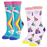 Women's Girls Novelty Crazy Crew Socks Funny Cute Rainbow Unicorn Poop Emoji Cotton Socks, 2 Pack with Gift Box (Color: 2 Pack-poop and Unicorn, Tamaño: Medium)