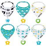 Baby Bandana Drool Bibs 6-Pack and Teething toys 6-Pack Made with 100% Organic Cotton, Super Absorbent and Soft Unisex (Vuminbox ) ( 6 PCS ) (Color: Colorful, Tamaño: Large)