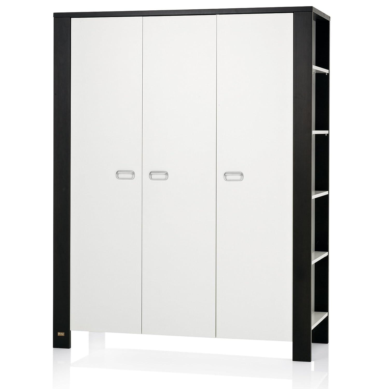 Herlag H1963-0008 Kleiderschrank Modern, 3 türig, 149 x 190 x 60 cm, weiß/braun gebeizt