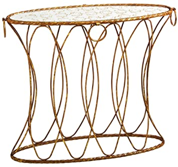 Golden Oval Table With Patterned Mirror Top