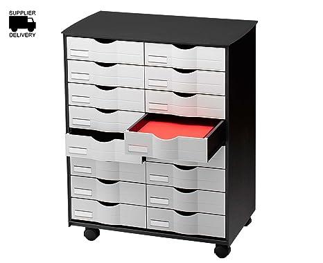 Paperflow DT161.02 - Mueble multiuso de 16 cajones, color negro y gris, 1 unidad