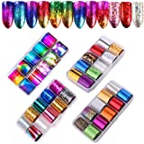 40 Rolls Starry Sky Nail Foil Adhesive Transfer Sticker Tips, Tingbeauty Nail Art Stickers Tips Wraps Foil Transfer Adhesive Glitters Acrylic DIY Decoration Kit(4 Boxes) (Color: A)