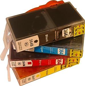NON-OEM 4 HP364 (Impresoras con 4 cartuchos) Series cartuchos de tinta compatibles para HP DESKJET 3070A, OFFICEJET 4620, PHOTOSMART 2011 WIFI, 5510, 5515, 5524, 6510, 6520, 7510, B109, B109D, B110, B207, B209, C310D, C5300 SERIES, C5324, C5380, C5390, C6300 SERIES, C6324, C6380, D5460, PLUS, PLUS B209, PREMIUM, PREMIUM C309A, PREMIUM C309G, PRO B8550, VALUE EDITION  Oficina y papelería Comentarios y más información