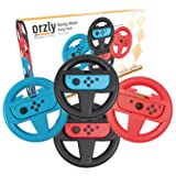 Orzly FOUR PACK of Steering Wheels for playing Mariokart on Nintendo Switch (1 RED, 1 BLUE, and 2 BLACK Wheels) - Bundle includes 4 Steering Wheel Attachments only (Console and Joy-Cons not included) (Color: 1x BLUE & 1x RED & 2x BLACK Steering Wheels for Nintendo Switch)