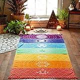 Tiean Hot Rainbow Beach Mat, Mandala Blanket Wall Hanging Tapestry Stripe Towel Yoga (Multicolor)