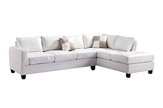 Glory Furniture G307B-SC Sectional Sofa, White, 2 boxes