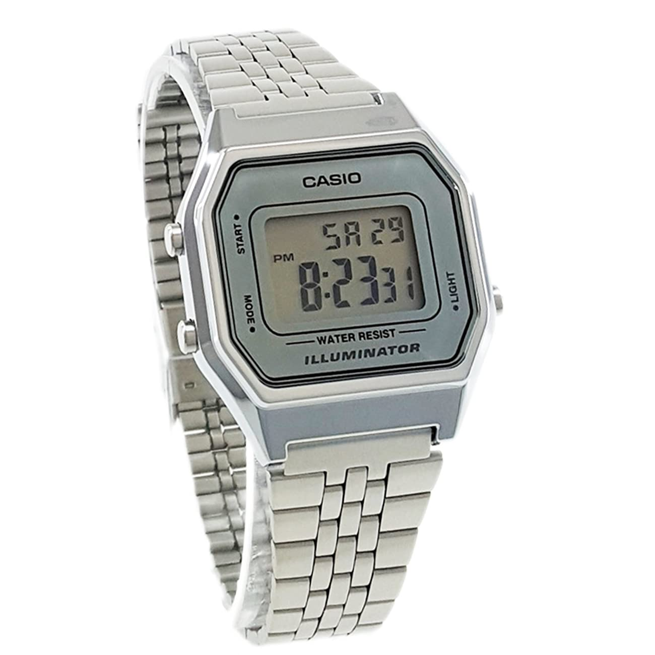 Casio Ladies Mid-Size Silver Tone Digital Retro Watch LA-680WA-7DF 1