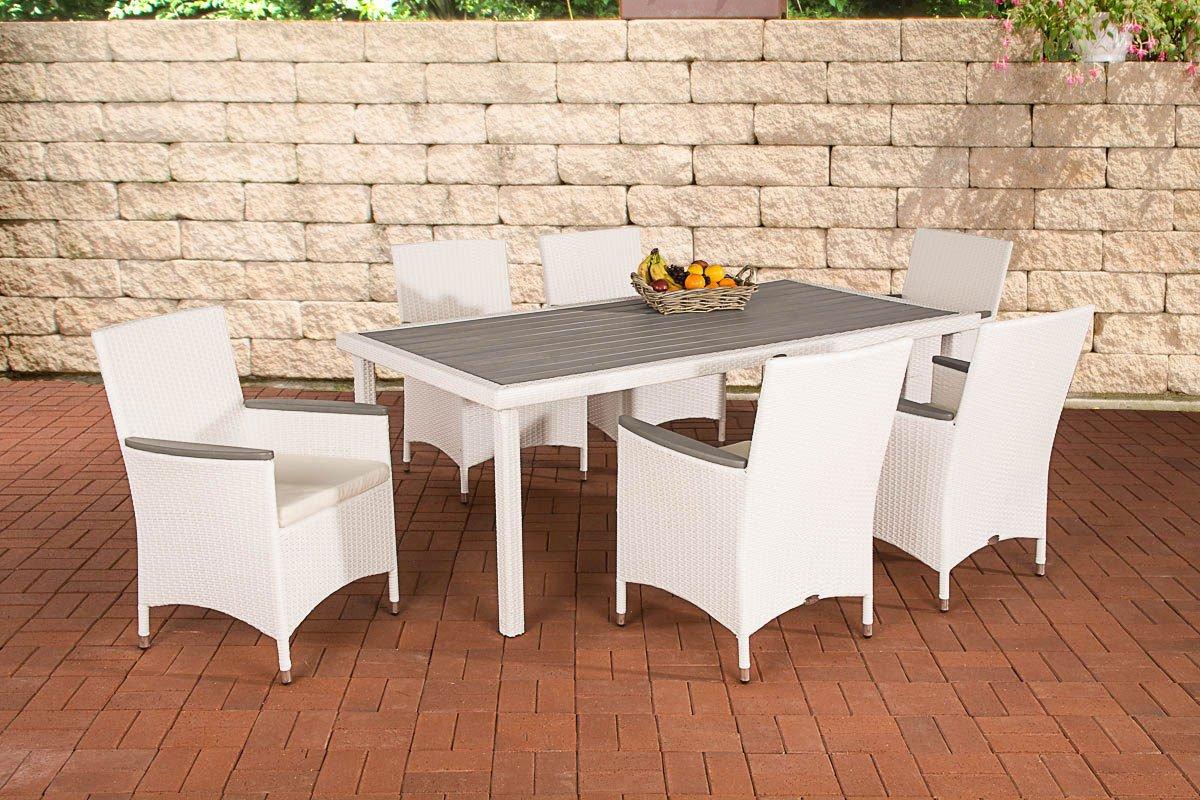 CLP Polyrattan Essgruppe ALICANTE (6 x Polyrattan Stuhl + Tisch 200 x 98 cm), Farbwahl, INKL. bequemen Sitzauflagen weiß