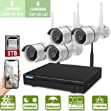 Wireless 8-Channel 1080P Security Camera System with 4pcs 720P Full HD Cameras,Home CCTV Surveillance System,Indoors&Outdoors IP Cameras+8CH House WiFi NVR Recorder,1TB Hard Disk Drive Pre-Install (Color: WHITE 8 Channel 1080P NVR+4pcs 720P cameras+1TB HDD)