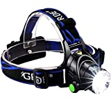 1800 Lumens CREE LED Headlamp Super Bright Waterproof Zoomable 3 Modes with Rechargeable Batteries Hands-free Headlight Torch Flashlight for Biking Camping Hunting Fishing (Color: Black)