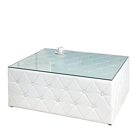 Design Chesterfield Couchtisch 100 cm weiß matt Antik Look mit Glasplatte Fußhocker Hocker Sitzhocker Wohnzimmertisch