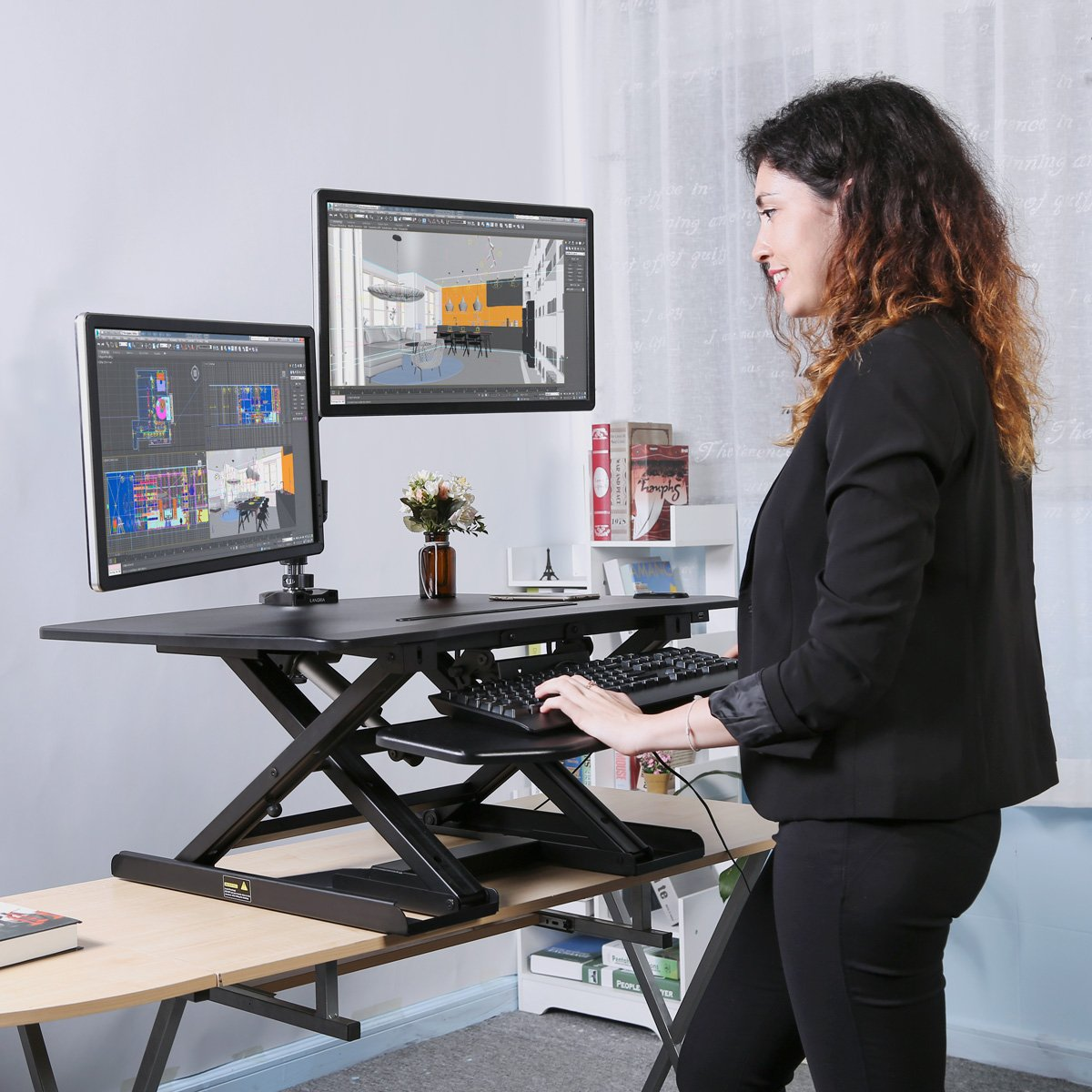 "LANGRIA Electric Standing Desk, Height Adjustable Stand up Desk Converter, Ergonomic 32""x 25"" Large Desktop Sit Stand Workstation X-Frame Fits Two Monitors USB Charging iPhone iPad Stand Black"