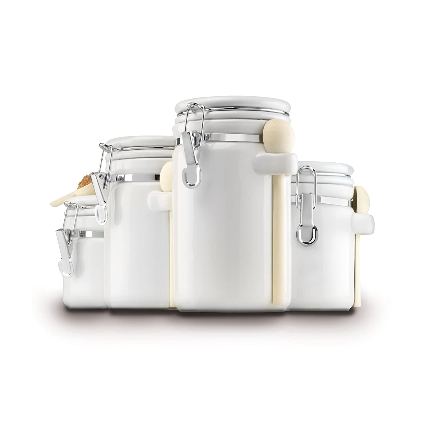 4 piece ceramic kitchen countertop canister container set