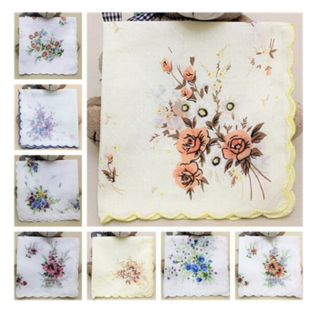 Colorful Women Quadrate Floral Handkerchiefs Wedding Party Fabric Hankies 0