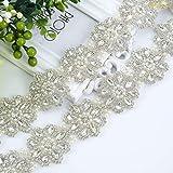 Crystal Pearl Wedding Dress Sash Belt in White Sheer Organza Sash = 18