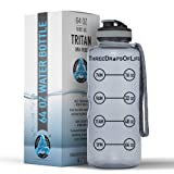 Three Drops of Life 64oz Hydration Tracking Large Sports Water Bottle, The Largest Time Tracker Sport Bottles, Best Daily Hydration Monitor (Color: Smoke Gray)