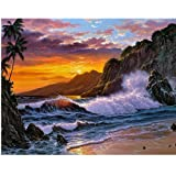 Handmade Counted Cross Stitch Kits Beach Scenery Embroidery Pattern DMC Cotton Thread Home Room Decor (Beach Scenery) (Color: Beach scenery)