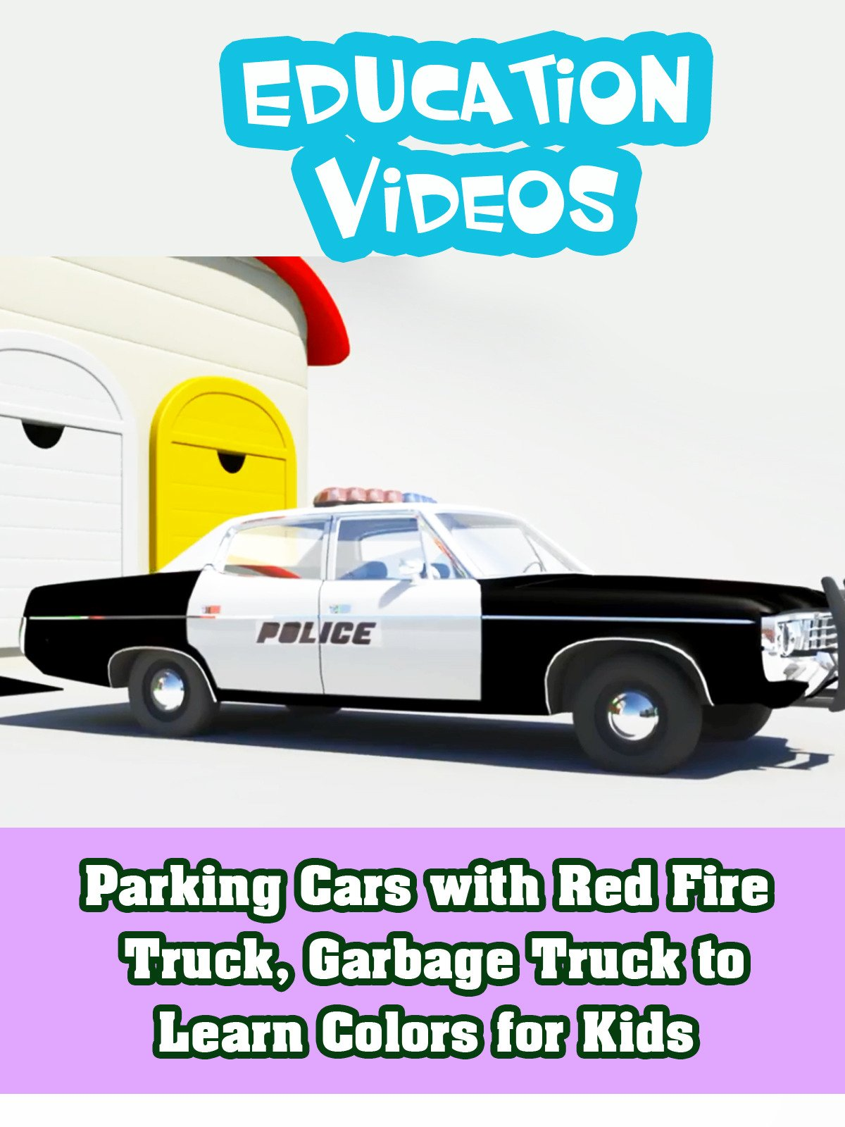 Parking Cars with Red Fire Truck, Garbage Truck to Learn Colors for Kids