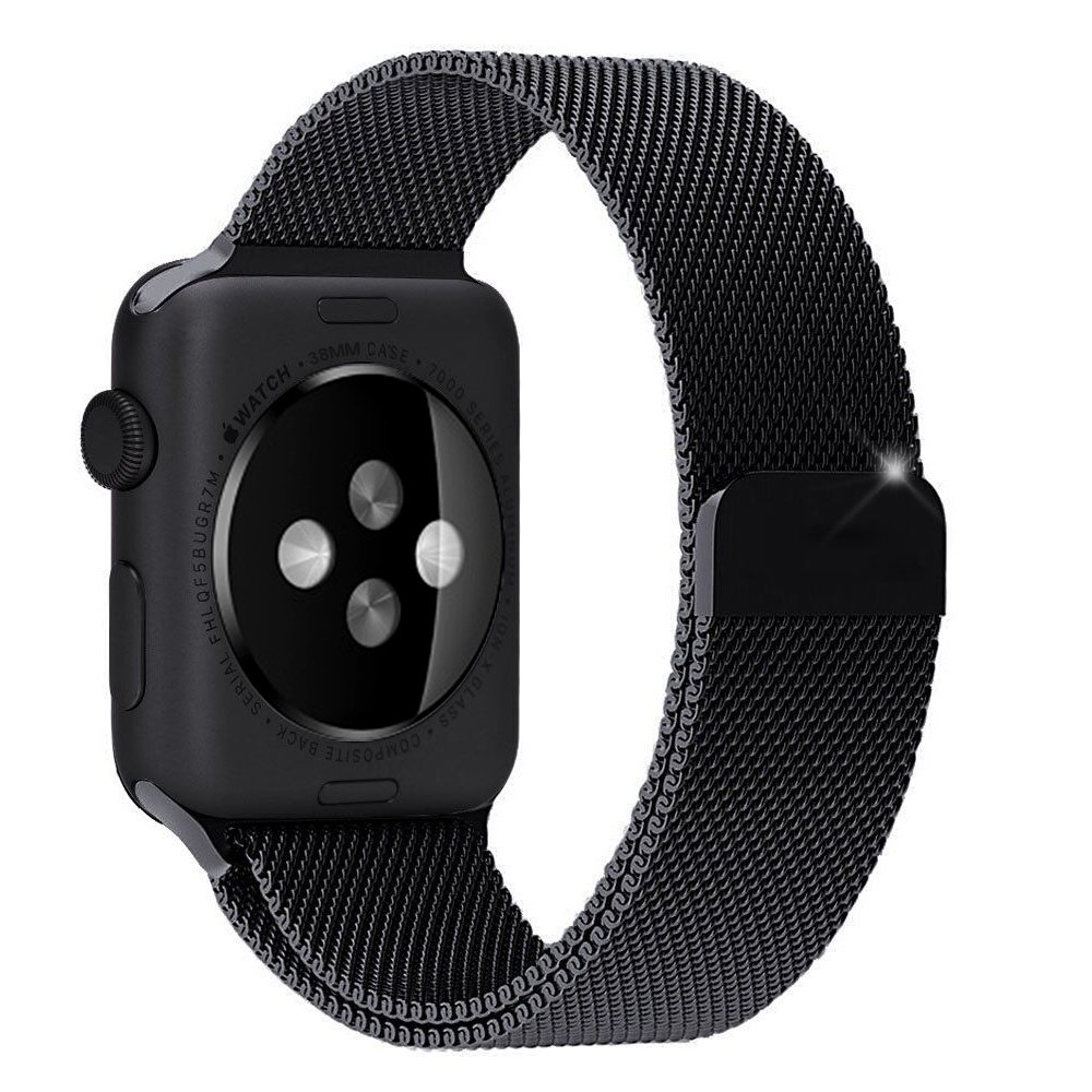 Apple Watch Band, Marge Plus Magnetic Closure Clasp Milanese Loop Stainless Steel Mesh Bracelet Strap Replacement Band for Apple Watch Black 42mm