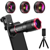 Phone Camera Lens Kit 9 in 1: 22X Telephoto Lens, 205° Fisheye Lens, 0.5X Wide Angle Lens & 25X Macro Lens, Compatible with iPhone 8 7 6 6s Plus X XS XR Samsung (Color: Black)