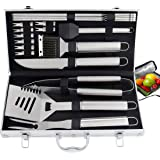 ROMANTICIST 20pc Heavy Duty BBQ Grill Tool Set with Cooler Bag - Great Grill Gift Set for Men Women on Birthday Wedding - Outdoor Camping Tailgating Barbecue Grill Accessories in Aluminum Case (Color: Silver, Tamaño: 20pc BBQ Tool Set in Aluminum Case)