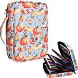 220 Colored Pencil Case Multi Pencil Holder Large Capacity Pen Organizer Bag for Watercolor Pencils, Markers,Gel Pens, Highlighters, Brushes, Great Gift for Students Painter Writers (Pumpkin) (Color: Pumpkin)