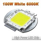 Hontiey High Power LED Chip 100W Pure White Light 6000K-6500K Bulbs 100 Watt Beads DIY Spotlights Floodlight COB Integration Lamp SMD (Color: gold, Tamaño: 1Pcs 100 Watts)