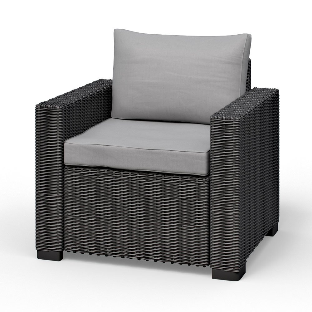 Allibert California Lounge Sessel Polyrattan Gartenmöbel Rattanoptik graphit inkl. Auflagen günstig