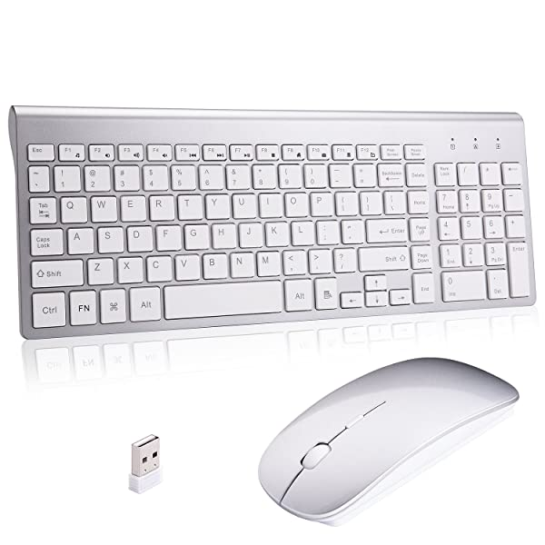 Wireless Keyboard and Mouse Combo,Ultra Slim with Mute Whispe-Quiet Keys for Laptop Notebook Mac PC Computer Windows OS Android (LC-TZ22-2) (Color: LC-TZ22-2)
