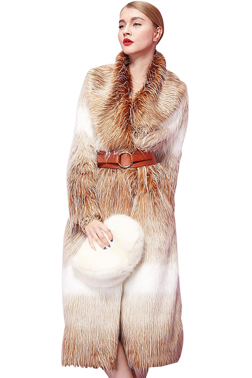 Fashion Women Long Gradient Color Fox Fur Coat Long Sleeve 0