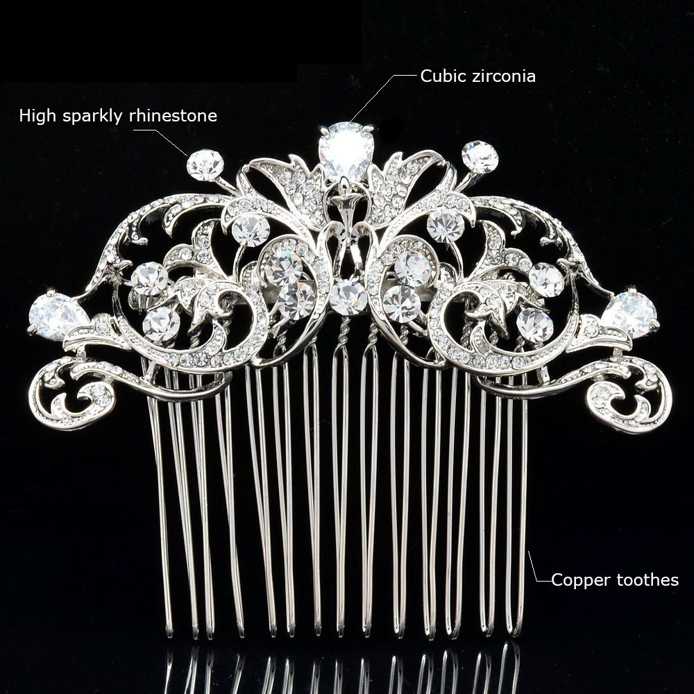 Sepjewelry 2253R Vintage Style CZ Rhinestone Hair Comb Pin Clip 1