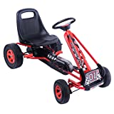 Costzon Go Kart, 4 Wheel Pedal Powered Ride On, Outdoor Racer with Adjustable Seat, Rubber Wheels, Brake, Ride On Pedal Car for Boys, Girls (Red) (Color: Red, Tamaño: 41.5