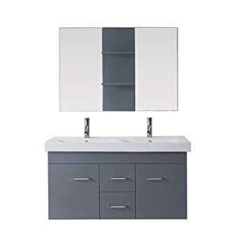 Virtu USA UM-3067-C-GR Modern 48-Inch Double Sink Bathroom Vanity Set with Polished Chrome Faucet, Grey