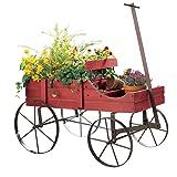 Amish Wagon Decorative Indoor/Outdoor Garden Backyard Planter, Red (Color: Red)