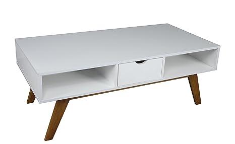 Mesa de centro colour blanco con patas de madera de 120 x 60 x 45 cm de ancho de madera diseño de diseño retro de juego de mesa de café mesa auxiliar de estilo escandinavo, New